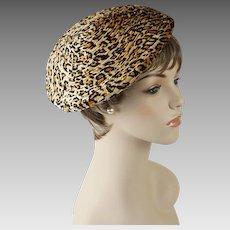 Vintage Hat Velour Animal Print Drawstring Tam or Beret