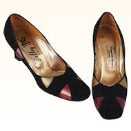 Vintage 1970s Pumps Black Suede with Colors by Propst Childress Shoes Sz 7aa
