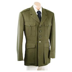 United States Marine Corp 1964 Military Jacket USMC Serge Green Wool S W Rice C42