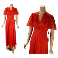 Vintage 1970s Evening Dress NOS Tangerine Formal Party Dress Sz 7/8 B34