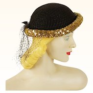 Vintage 1940s Hat Brown and Gold Sequin Roll Brim with Netting Sz 21 1/2