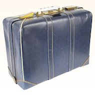 Vintage 1950s Navy Blue Leather Olympic Suitcase 18 x 13
