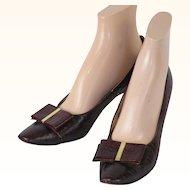 Vintage 1960s Shoes Andrew Geller Brown Embossed Lizard Heels Original Box Sz 9 AAAA