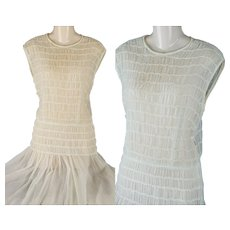 Vintage 1940s Dress Sheer White Smocked and Crystal Pleated by Henry Rosenfeld Sz XS - Red Tag Sale Item