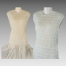 Vintage 1940s Dress Sheer White Smocked and Crystal Pleated by Henry Rosenfeld Sz XS