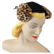 Vintage 1940s Hat Black Felt Faux Fur Tilt by Roberta Bernays New York Creation