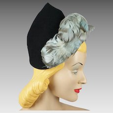 Vintage 1940s Hat Feathered Black Peak Style by H B Burnett Sz 21.5