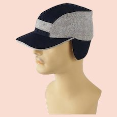 Vintage 1950s Hat Two Tone Blue Tweed Workwear Cap with Ear Flaps Sz 21