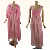 Vintage 1970s Nightgown and Robe Bright Pink Chiffon Peignoire Negligee Set Sz M