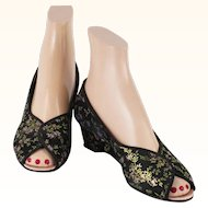 Vintage Daniel Green Slippers Black Brocade Wedge Heel Open Toe Boudoir Shoes Sz 6