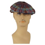 Vintage Newsboy Cap Blue and Red Wool Plaid 8 Panel Hat The Links County Cap Sz 7 1/2