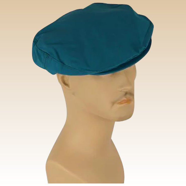 Vintage Mans Hat Teal Canvas Adjustable Flat Cap Sz M L NOS   Alley Cats  Vintage  b6bb832cfd6c