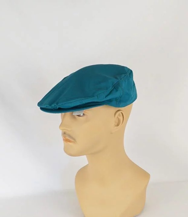 Vintage Mans Hat Teal Canvas Adjustable Flat Cap Sz M L NOS   Alley ... d5e03d1307fd