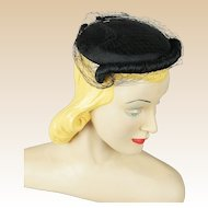 Vintage 1950s Cocktail Hat Black Veiled with Hat Pins Saks Millinery