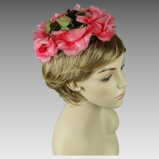 Vintage 1960s Hat Pink Silk Flowered Whimsey Style by Mr John Demi Chapeau