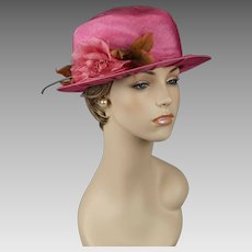Vintage Hat Bright Pink High Crown Brimmed Top Hat with Pink Silk Flower by Mr Lewis Sz 22