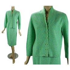 Vintage 1960s Sweater and Skirt Mint Green Tweed Knit Set by Penny Wright B40