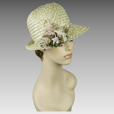 Vintage 1960s Hat Ivory Cello Straw Flowered Fedora Sz 22