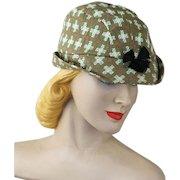 Vintage 1950s Hat Green Plaid  Brimmed Cap NOS Sz 6 3/4 Unisex