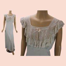 435d6c46550 Vintage 1940s Nightgown Pale Blue Lace Bias Cut by Lady Edso Sz 40