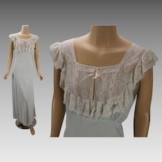 Vintage 1940s Nightgown Pale Blue Lace Bias Cut by Lady Edso Sz 40   Alley  Cats Vintage  14363a8c4