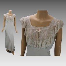 Vintage 1940s Nightgown Pale Blue Lace Bias Cut by Lady Edso Sz 40