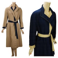 Vintage 1980s Aigner Trench Coat Reversible Khaki and Navy Blue Weather Rain Belted Wrap Sz 10 - Red Tag Sale Item
