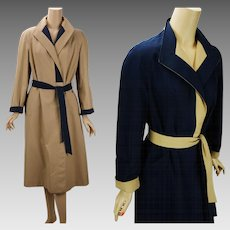 Vintage 1980s Aigner Trench Coat Reversible Khaki and Navy Blue Weather Rain Belted Wrap Sz 10