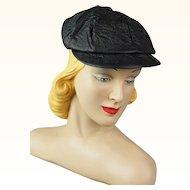 Vintage 1950s Newsboy Black Vinyl Cap Youth Size 20