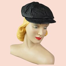 a2c2c989333e38 HARRIS TWEED Black Herringbone Cap / Hat. Uni-sex. Newsboy Style ...