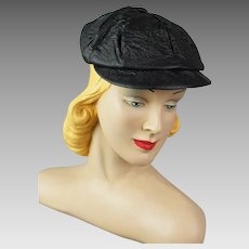 Vintage 1950s Newsboy Black Vinyl Cap Youth Size 20