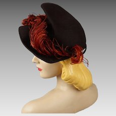 Vintage 1940s Tilt Hat Brown Felt Asymmetrical Brim with Rust Ostrich Feathers NY Creations Sz 21