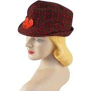 Vintage 1950s NOS Red Plaid Corduroy Cap Sz 6 5/8 Unisex Workwear Hat