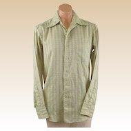Vintage 1970s Schiaparelli Gentlemans Shirt Light Green and White Sz 16