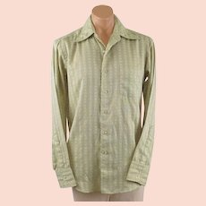 Vintage 1970s Schiaparelli Gentlemans Shirt Light Green and White Sz 16