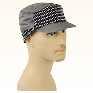 Vintage 1950s Grey Black and White Tweed Workwear Cap with Ear Flaps Sz 6 5/8 NOS