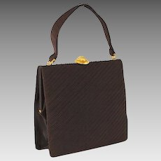 Vintage 1960s Handbag Large Brown Envelope Style Purse by Koret