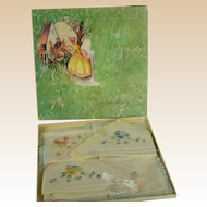 Vintage 1930s Boxed Handkerchiefs Hankies Three NOS NWT