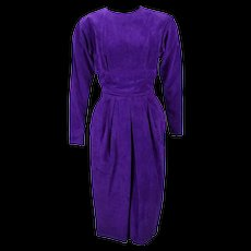 Vintage 1980s Purple Suede Form Fitting Dress by Ambria Sz 10