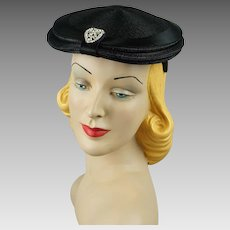 Vintage 1950s Hat Black Straw Rhinestone Beret with Satin Trim