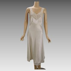 Vintage 1940s Nightgown Ivory Silk Charmeuse and Lace Fischer Heavenly Lingerie B36 W32