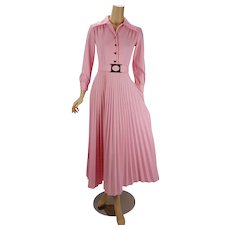 Vintage 1970s Dress Pink Full Length Pleated Skirt Party Dress B36 W26 - Red Tag Sale Item