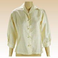 Vintage Ivory Silk Blouse Marshall Field Sz 10 B38