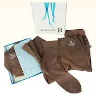 Vintage Boxed Stockings 3 Pair Neutral Taupe Seamed with Knitted Heels by Berkshire Sz 11L NOS