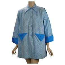 Vintage 1950s Lounging Jacket Blue Plaid by Tommies Sz 34 B44 W48