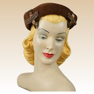 Vintage 1950s Hat Chocolate Brown Beaded Beret Sz 22 1/2