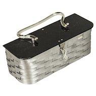 Vintage 1950s Silver Metal Weave Box Handbag Purse