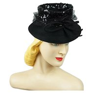 Vintage 1940s Tilt Hat Black Felt Brim with Sequin Crown NY Creations