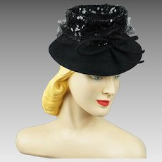 Vintage 1940s Tilt Hat Black Felt Brim with Sequin Crown NY Creations