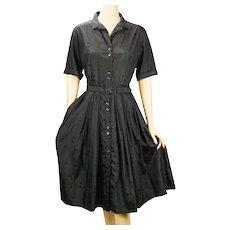 1960s Vintage Dress Black Patterned Cotton Shirtwaist by Jane Bradley VOLUP B44 W31 - Red Tag Sale Item